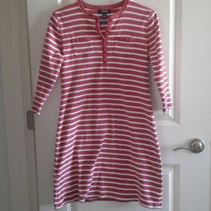 Chaps Tee Shirt Dress Stripes